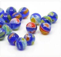 30x Millefiori Perlen Glasperlen Beads Schmuck DIY Basteln Kugel grün blau 6mm
