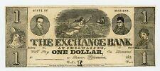 1830's $1 The Exchange Bank at Shiawassee, MICHIGAN Note