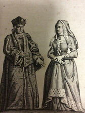 Gravure sur bois habillement Reine Elisabeth et roi Henri VII estampe XVIIIe