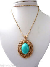 """Attractive Gold Tone 26"""" Necklace and Oval Pendant With Colour Centre Blue"""