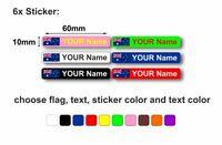 6 x sticker adesivi adesivo personalizzati bici moto nome bandiera casco scuola