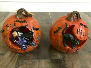 2 X Decorative Halloween pumpkin witch and cat bundle FREE SHIPPING