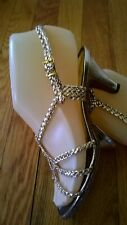 "Vtg 50's Glam - ""Made In Italy"" Metallic Gold Braided Strappy Sandal Heels 5"