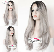 Ombre Silver Gray Synthetic Lace Front Wigs Dark Roots Long Wavy Synthetic Wigs