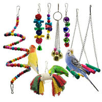 7 PCS PACK BEAKS METAL ROPE SMALL PARROT BUDGIE COCKATIEL CAGE BIRD TOYS