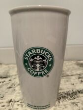 Starbucks Double Wall Tall Travel Ceramic Coffee Mug/Cup Siren Logo White 2009