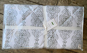 """NEW Pottery Barn Dessi Print Reversible 68""""x86"""" Quilted Comforter~Gray Twin"""