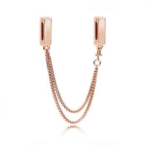 New 925 Silver Rose Gold Reflexions Floating Clip On safety chain Charm