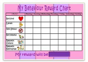 MAGNETIC - BEHAVIOUR REWARD CHART- 3 colours or u choose - FREE PEN / STICKERS