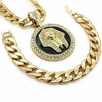"Mens 14k Gold Plated XL Black Pharaoh Pendant with 30"" Cuban Chain and Bracelet"
