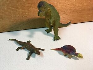 Lot of 3 Toy Dinosaurs Toy Plastic & Rubber Dinosaurs