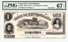 1850's $1 Connecticut, East Haddam- Pmg Superb Gem Uncirculated 67Epq-Wow Rare!