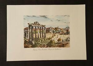 Roman Forum, Temple of Saturn Etched Print by de Carly Hand Painted 1960's