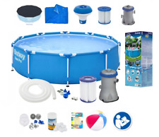 18in1 BestWay SWIMMING POOL 305cm 10FT Garden Round Frame Ground Pool + PUMP SET
