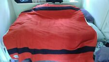 Vintage Orr Felt & Blanket Co ORRLASKAN Wool Blanket Red w Black Stripe 78 x 74