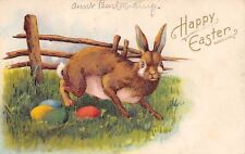 Easter~Cute Rabbit~Long Whiskers~Finds Colored Eggs by Rail Fence~Emboss~Germany