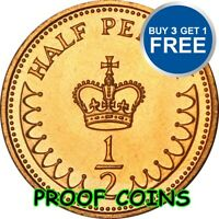 PROOF ENGLISH DECIMAL HALF PENNIES 1/2ps OLD COINS 1971 TO 1984