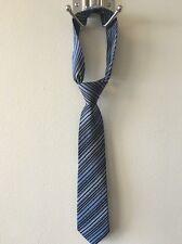 Calvin Klein BonTon Boys 100% Silk Necktie Neck Tie Blue Stripe NWOT