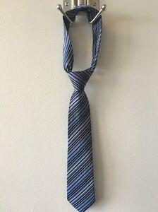 CALVIN KLEIN Boys 100% Silk Necktie Neck Tie Blue Stripe NWOT