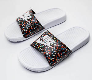 New Nike Women Sliders Benassi Swoosh/Floral/pool/soft/slip on/beach/flip flops