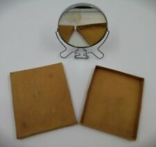 "Boxed Vintage 5"" Shaving Mirror w/Chrome Frame & Stand Diamond Brand SMALL CHIP"