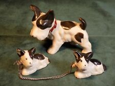 Vintage Scottish Terrier Dog Figurine Family Porcelain Dogs With Chain Mama Baby