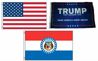 3x5 Trump #1 & USA American & State of Missouri Wholesale Set Flag 3'x5'