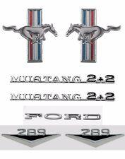 NEW! 1965-1966 Ford Mustang V8 289 Emblem Kit Running Horse Script Fastback 2+2