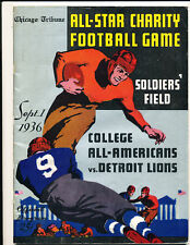 9/1 1936 College All Americans vs Detroit Lions em Football Program