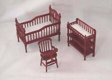 Nursery Baby Room Set Mahogany finish dollhouse furniture 1-12 scale G9816M 3pc