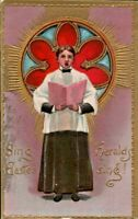 Antique Postcard Sing Easter Heralds Sing!  Choir Boy Stained Glass Window  1910