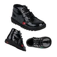 Kickers Junior Unisex Kick Hi Black Patent Leather Kids School Zip Ankle Boots
