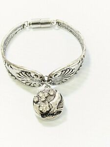 Artisan Silver Tone Spoon Bracelet Magnet Clasp Crystal Shoe Snap Charm 6.5 In