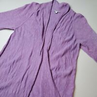Eileen Fisher Womens Size M Open Front Cardigan Purple Sweater Cotton Linen
