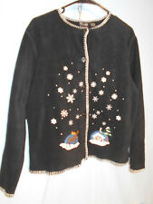Woments Ugly Christmas Holiday Sweater Cardigan Moose Snow Small