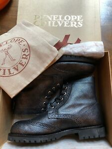 Penelope Chilvers Rodriguez Boots UK8 EU41 Pewter Leather, Fleece Lined  £299