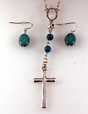 4030831 Christian Cross Necklace & Earring Set Religious Scripture Bible Jesus