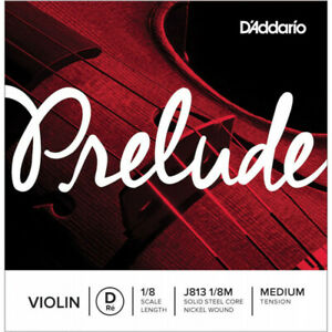 D'Addario J813 1/8M - Corde seule (Ré) violon Prelude, manche 1/8, Medium