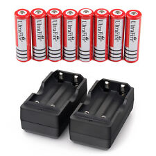8x 4000mAh 18650 Battery 3.7v Li-ion Rechargeable Batteries + 2x Smart Charger