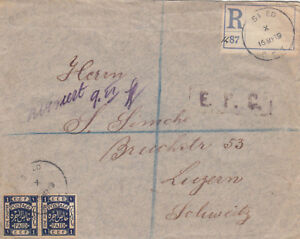 PALESTINE 1919 REGISTERED COVER FROM ROSHPINA VIA SAFED TO SWITZERLAND