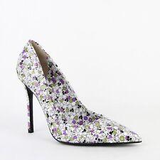 $820 Bottega Veneta Women Green/Purple Leather Floral Woven Heels 430541 8404