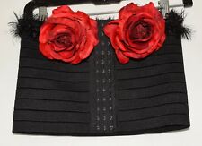 Sexy Black w/ 2 Large Red Roses Stretchy Polyester & Rubber Wire Top Plus Sz 2X