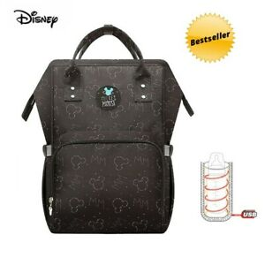 Disney Diaper Bag Mickey Mouse Backpack Baby Diaper Pushchair Black New