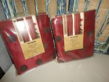 PIER 1 IMPORTS AMELIA RED CHARCOAL FAUX SILK CHENILLE DOTS  (2) PANELS CURTAINS