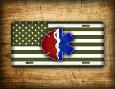 Firefighter EMT Military License Plate US Flag Olive Drab Star of Life Asclepius
