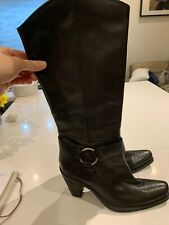 BNWOT Kurt Geiger Carvela Black Leather Knee High boots 38/5 Block Heel