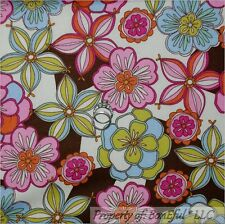 BonEful Fabric FQ Cotton Quilt Cream Brown Pink Blue Yellow Flower Leaf Rain*bow