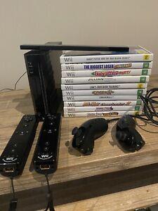 Wii Bundle Bulk Lot Black Console Two Motion Plus Controllers X10 Games Etc