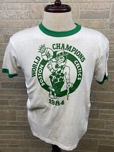 Vintage 1984 Boston Celtics Shirt World Champions Ringer Thin USA NBA L 42-44
