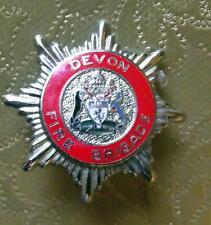 More details for obsolete enamel vintage cap badge devon fire brigade service a